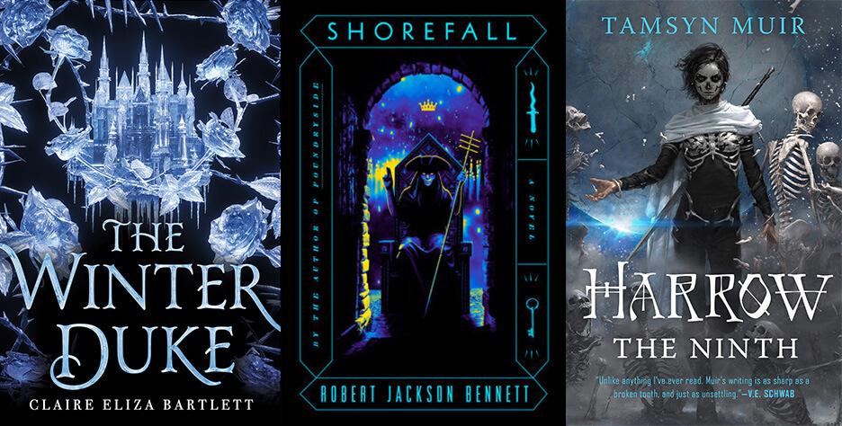 Three sapphic fantasy book covers: The Winter Duke; Shorefall; and Harrow the Ninth