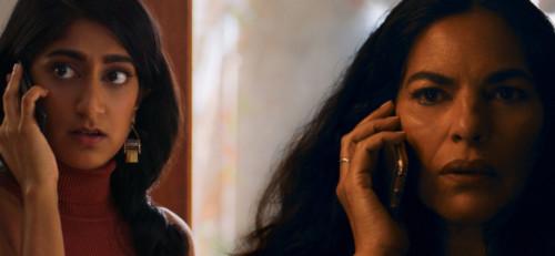 "Sunita Mani as Pallavi and Sarita Choudhury as Usha in ""Evil Eye"""
