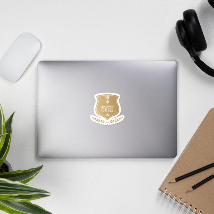Brown Geek laptop sticker